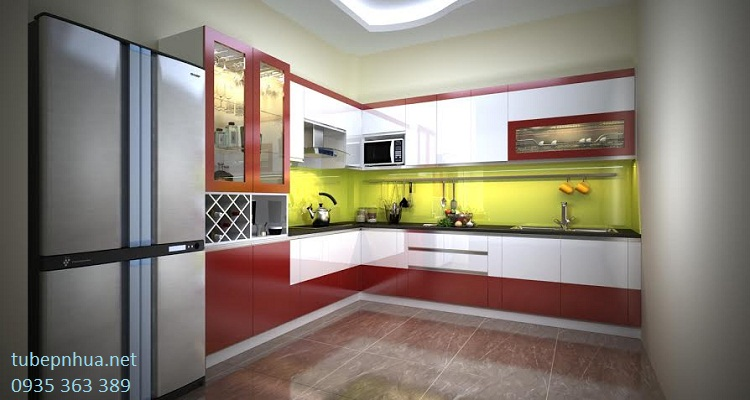 Tủ bếp nhựa cao cấp khung bê tông - nhà chị Huệ