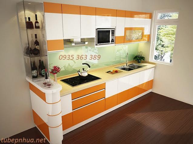 Tủ bếp nhựa cao cấp nhà anh Hưởng - thành phố Hưng Yên