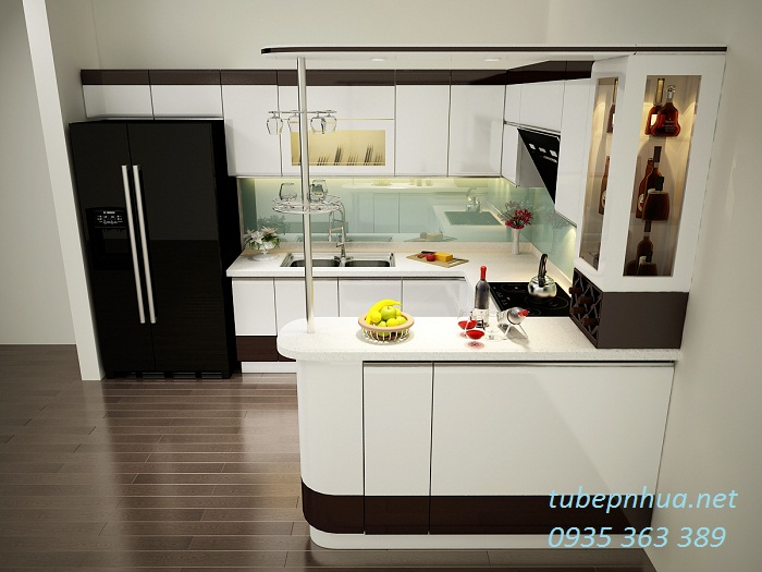 Thiết kế tủ bếp nhựa cao cấp nhà anh Thoan - Hà Nội