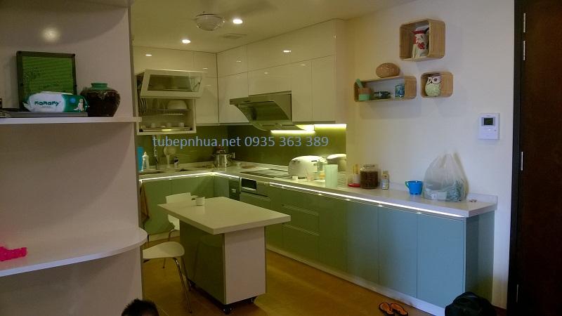 Tủ bếp nhựa cao cấp nhà anh Hà - Chị Hằng P1204A2, chung cư Hòa Bình Green city