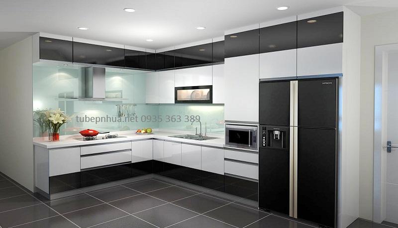 Tủ bếp nhựa cao cấp chữ L đẹp nhà chị Linh  Chung cư Thăng Long Number 1