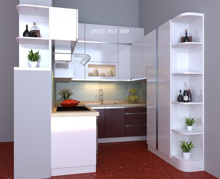 Mẫu tủ bếp nhựa cao cấp chữ U hiện đại nhà cô Chiêm - Ngõ 173 Hoàng Hoa Thám
